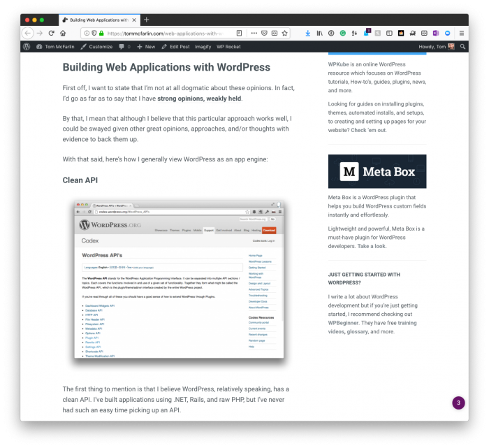 WordPress for Web Applications