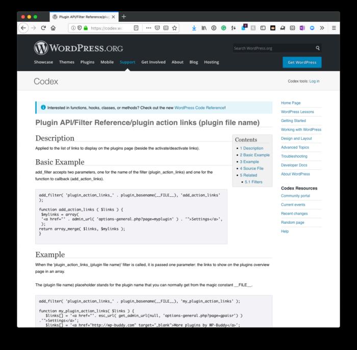 Plugin Settings Link: Codex