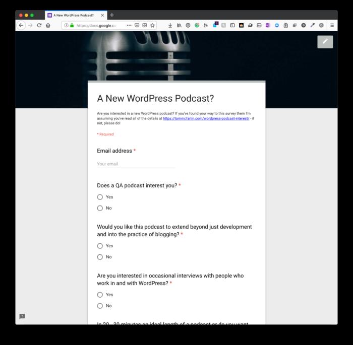 WordPress Podcast Interest: Survey