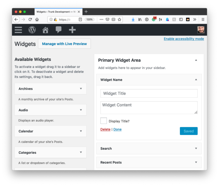 WordPress Widget: UI Improved