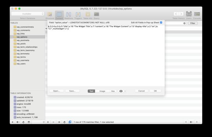 WordPress Widget Boilerplate: Widget Database