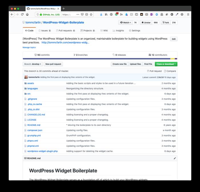 WordPress Widget Boilerplate: The develop Branch