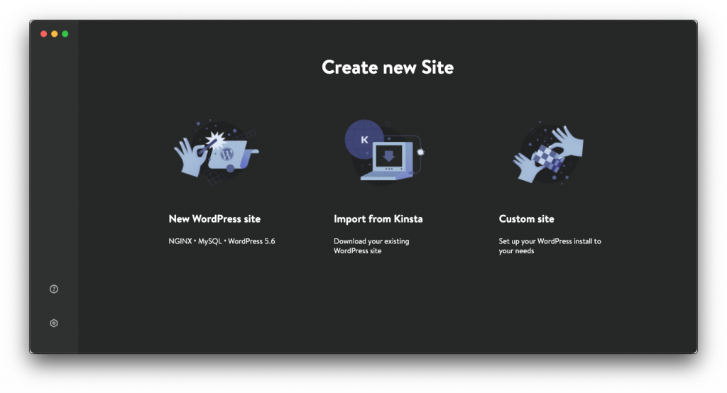 A screen showing how to create a new site within DevKinsta.